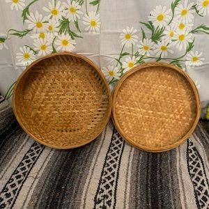 Vintage bamboo woven round hat box